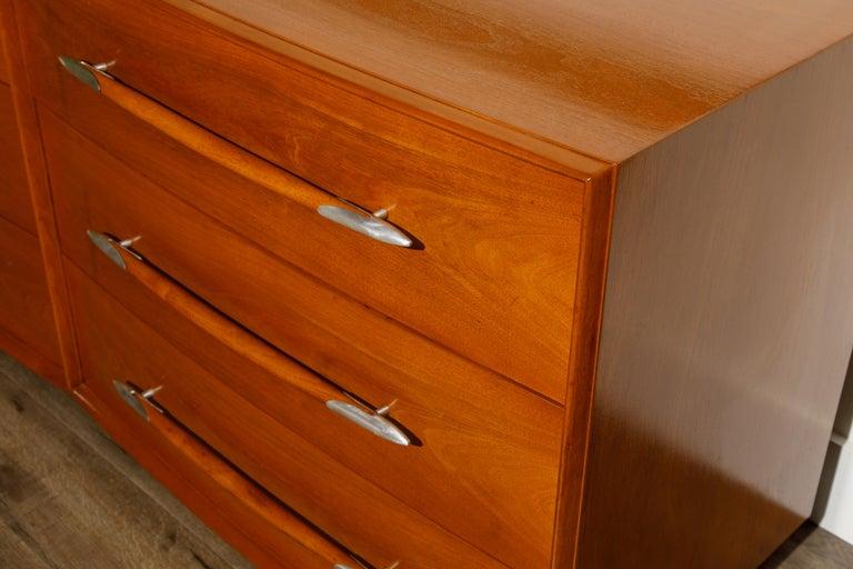 T.H. Robsjohn-Gibbings for Widdicomb Dresser with Spear Handles, c 1950, Signed For Sale 3