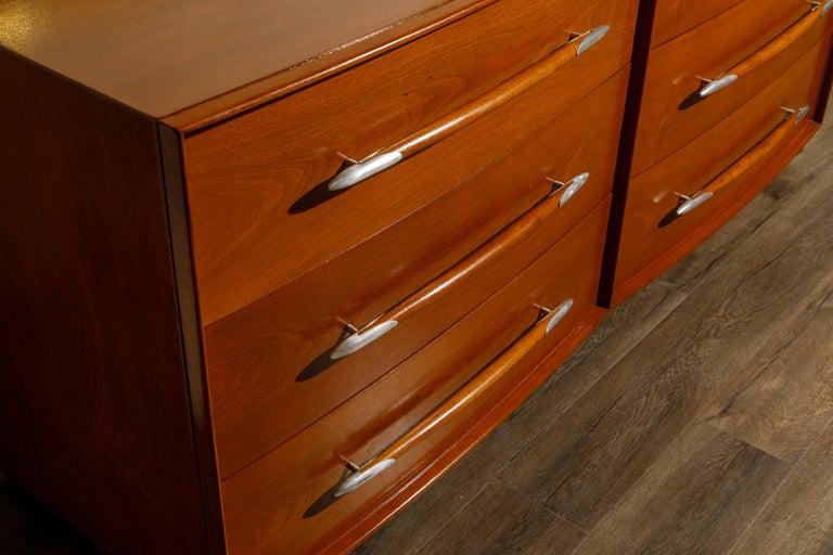 T.H. Robsjohn-Gibbings for Widdicomb Dresser with Spear Handles, c 1950, Signed For Sale 5