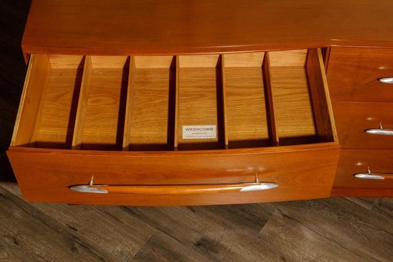 T.H. Robsjohn-Gibbings for Widdicomb Dresser with Spear Handles, c 1950, Signed For Sale 8