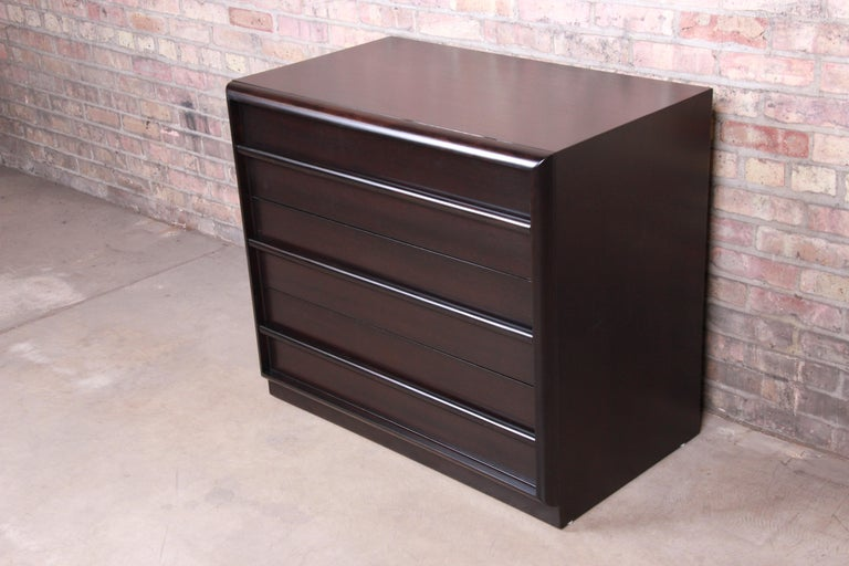 American T.H. Robsjohn-Gibbings for Widdicomb Ebonized Bachelor Chest, Newly Refinished For Sale