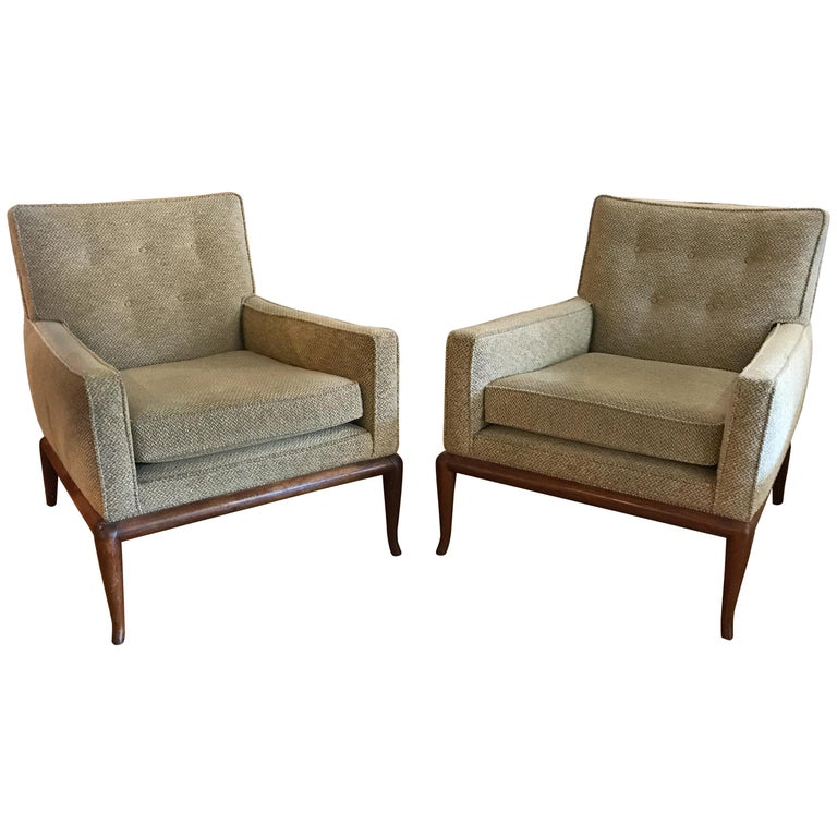 T.H. Robsjohn-Gibbings for Widdicomb Lounge Chairs, Pair For Sale