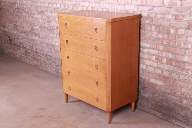 American T.H. Robsjohn-Gibbings for Widdicomb Mid-Century Modern Walnut Highboy Dresser For Sale