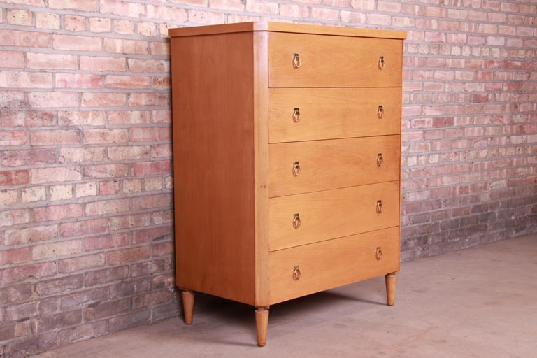 T.H. Robsjohn-Gibbings for Widdicomb Mid-Century Modern Walnut Highboy Dresser In Good Condition For Sale In South Bend, IN