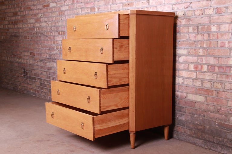 Brass T.H. Robsjohn-Gibbings for Widdicomb Mid-Century Modern Walnut Highboy Dresser For Sale