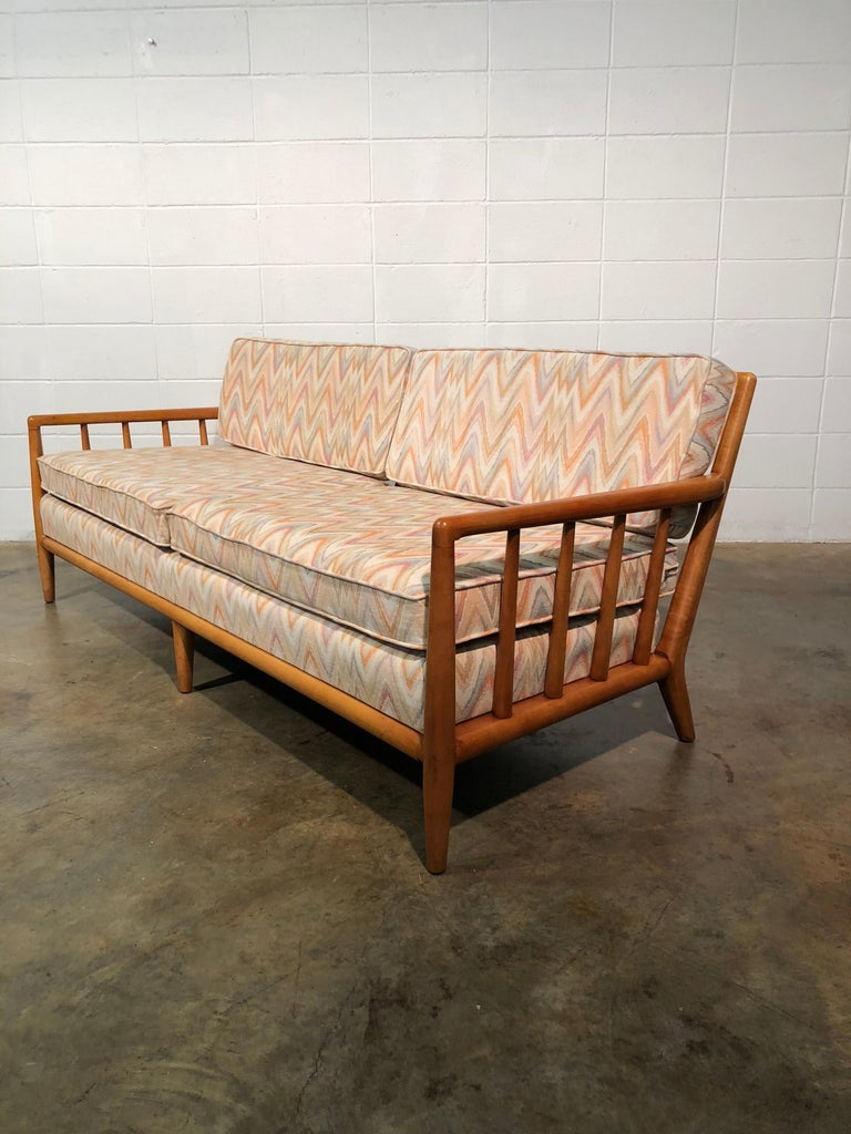Mid Century Modern Spindled Sofa In Vintage Flamestitch