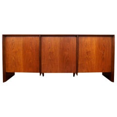 T.H. Robsjohn-Gibbings for Widdicomb Three-Door Walnut Credenza Cabinet