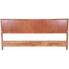 T.H. Robsjohn-Gibbings for Widdicomb Walnut King Size Headboard, Newly Restored