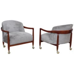 T.H. Robsjohn-Gibbings for Widdicomb Walnut Lounge Chairs