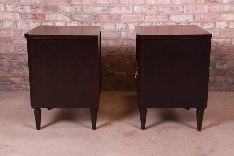 T.H. Robsjohn-Gibbings for Widdicomb Walnut Nightstands, Newly Refinished For Sale 3