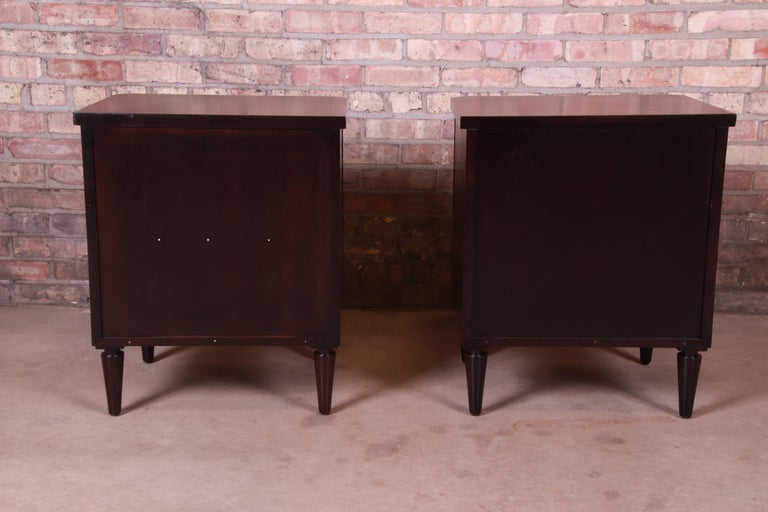 T.H. Robsjohn-Gibbings for Widdicomb Walnut Nightstands, Newly Refinished For Sale 4