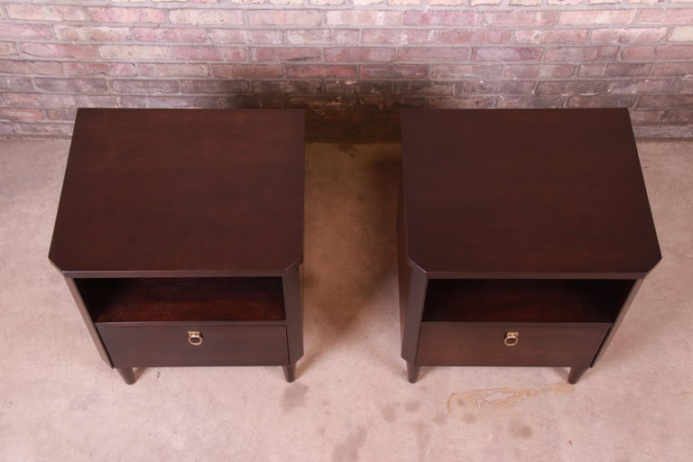 Mid-20th Century T.H. Robsjohn-Gibbings for Widdicomb Walnut Nightstands, Newly Refinished For Sale