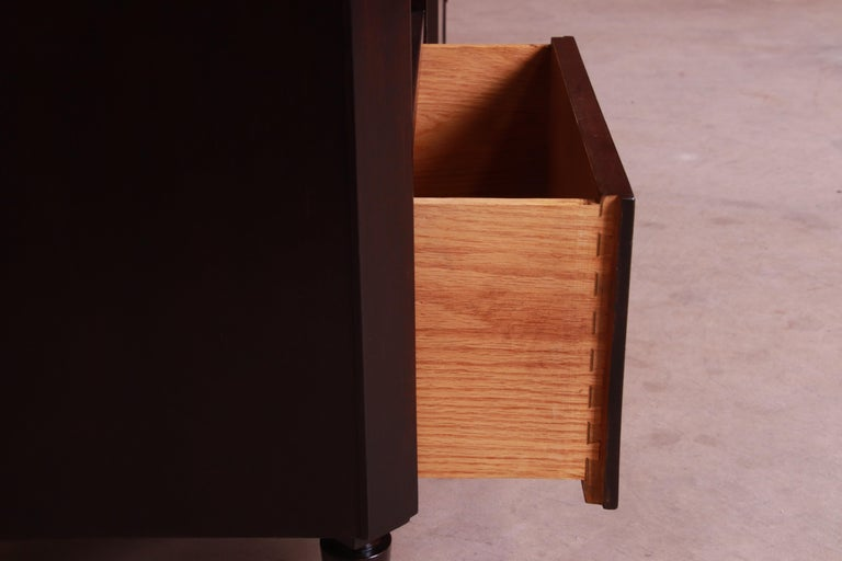 T.H. Robsjohn-Gibbings for Widdicomb Walnut Nightstands, Newly Refinished For Sale 2