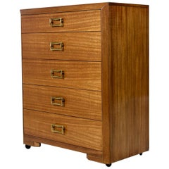T.H. Robsjohn-Gibbings for Widdicomb Yellow Mahogany Machine Age Dresser
