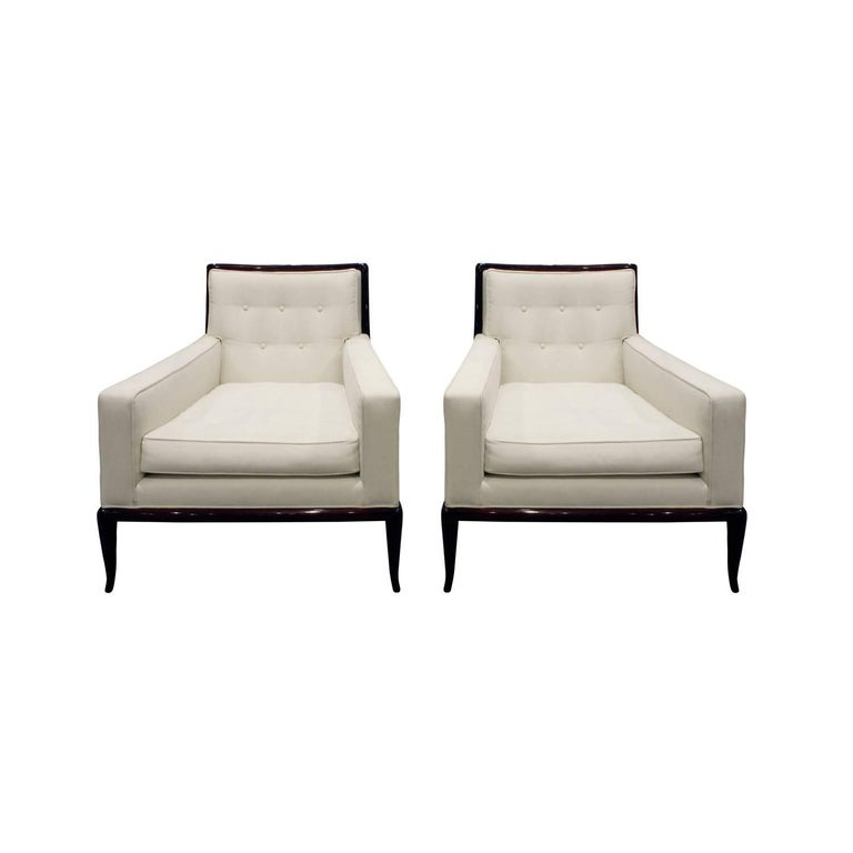 T.H. Robsjohn-Gibbings Graceful Pair of Club Chairs, 1950s
