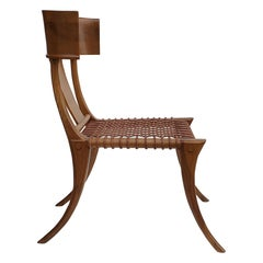 T.H. Robsjohn-Gibbings Klismos Chair for Saridis of Athens in Walnut and Leather