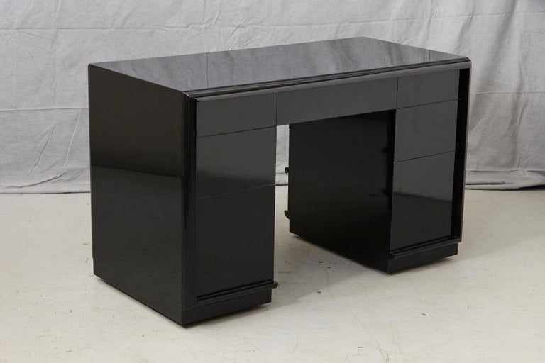 T.H. Robsjohn-Gibbings Kneehole Desk in New Black Piano Lacquer Finish For Sale 3
