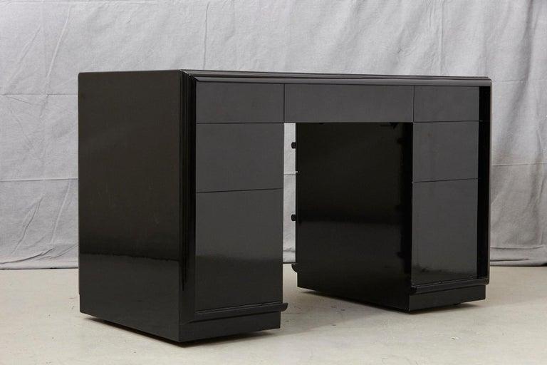 T.H. Robsjohn-Gibbings Kneehole Desk in New Black Piano Lacquer Finish For Sale 4