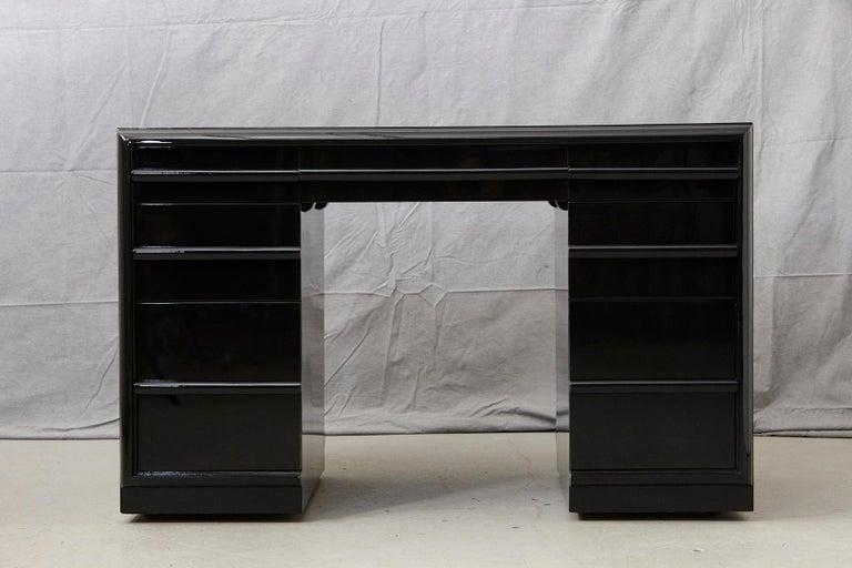 Mid-Century Modern T.H. Robsjohn-Gibbings Kneehole Desk in New Black Piano Lacquer Finish For Sale