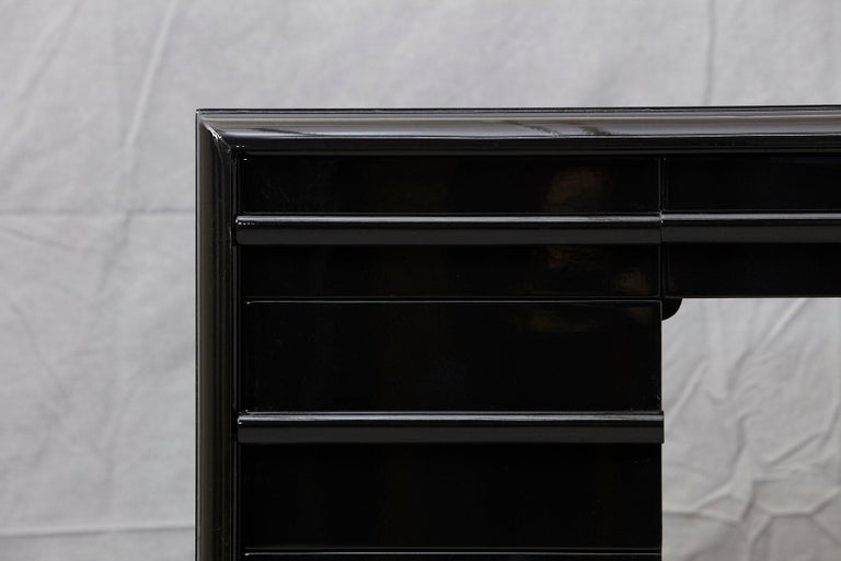 American T.H. Robsjohn-Gibbings Kneehole Desk in New Black Piano Lacquer Finish For Sale