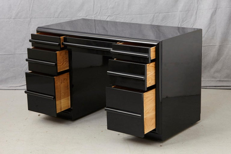 20th Century T.H. Robsjohn-Gibbings Kneehole Desk in New Black Piano Lacquer Finish For Sale