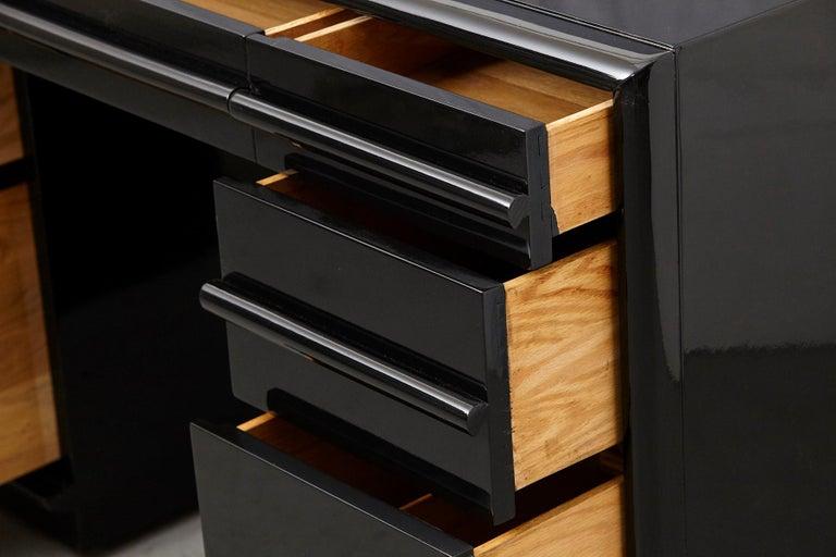 Birch T.H. Robsjohn-Gibbings Kneehole Desk in New Black Piano Lacquer Finish For Sale