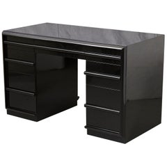 T.H. Robsjohn-Gibbings Kneehole Desk in New Black Piano Lacquer Finish