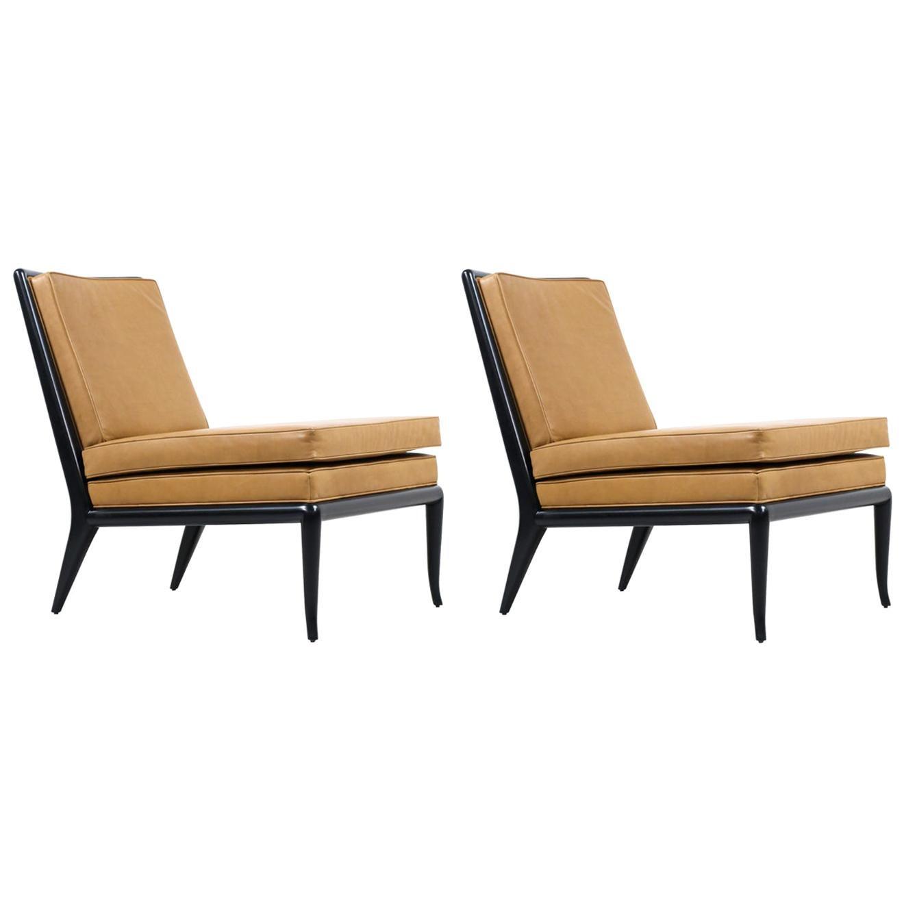 T.H. Robsjohn-Gibbings Leather and Ebonized Wood Slipper Chairs for Widdicomb