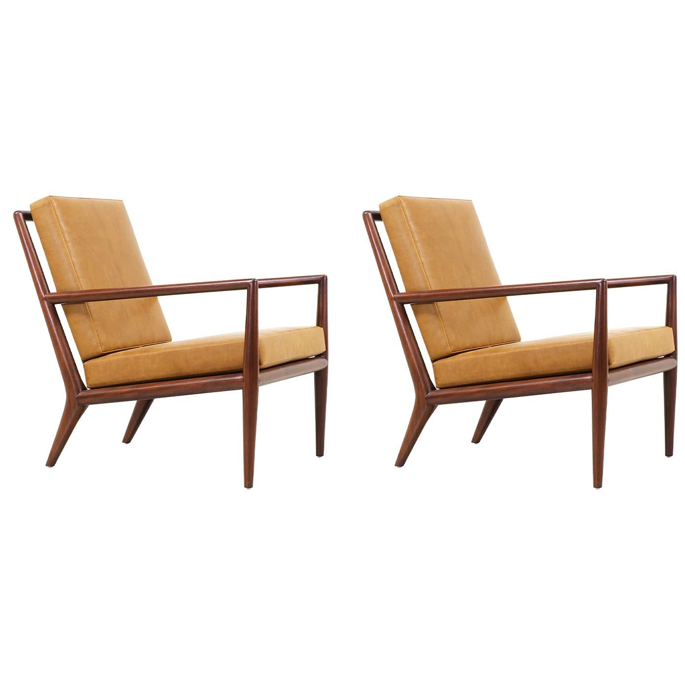 T.H. Robsjohn-Gibbings Leather Lounge Chairs for Widdicomb