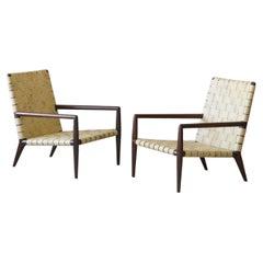 T.H. Robsjohn-Gibbings, Lounge Chair Dark Walnut Leather Webbing Widdicomb 1950s