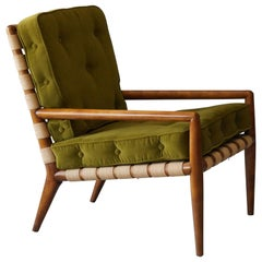 T.H. Robsjohn-Gibbings, Lounge Chair Walnut Webbing Green Velvet Widdicomb 1950s