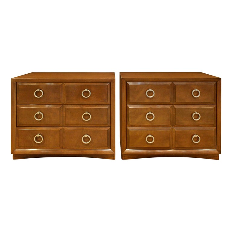 T.H. Robsjohn-Gibbings Pair of Bedside Tables / Chests in Walnut, 1950s 'Signed' For Sale