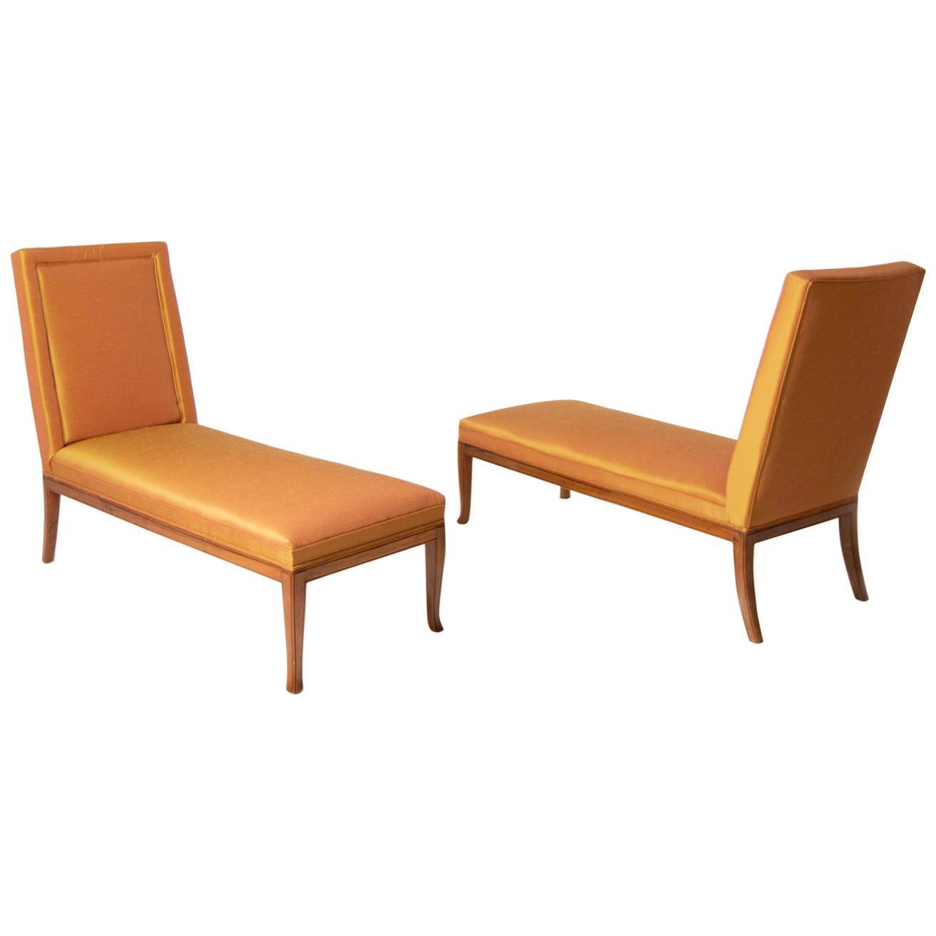 T.H. Robsjohn-Gibbings Pair of Chaise Lounges in Orange Silk, 1960s
