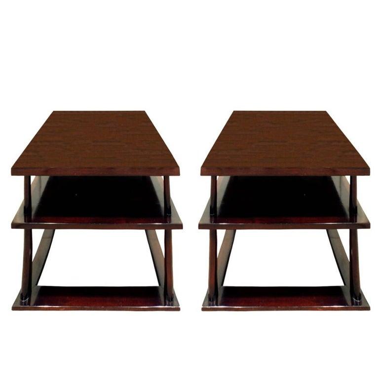 T.H. Robsjohn-Gibbings Pair of End Tables in Walnut, 1950s