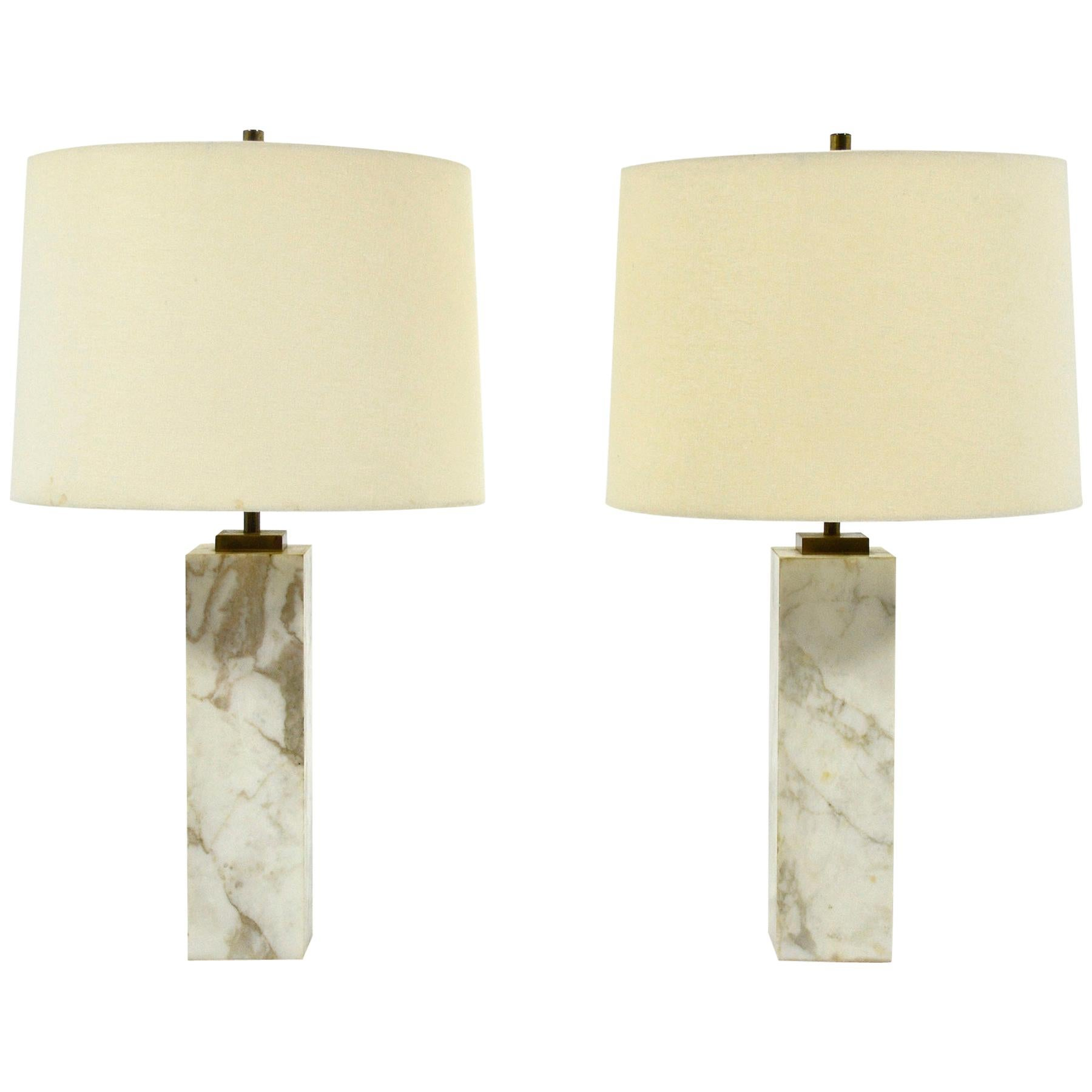 T.H. Robsjohn-Gibbings Pair of Marble Table Lamps by Hansen