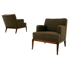 T.H. Robsjohn-Gibbings Pair of Midcentury Armchairs in Bouclè Fabric Brown, 1950