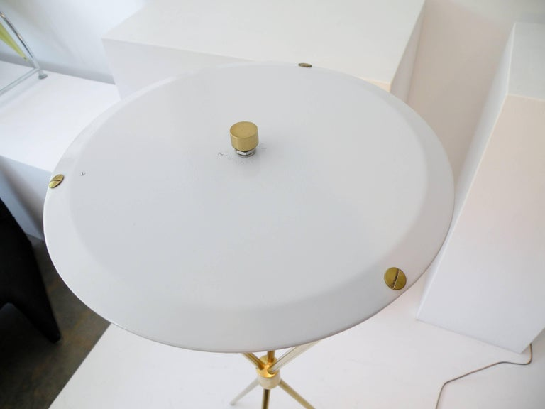 T.H. Robsjohn-Gibbings Paul Hansen NY Brass Tripod Floor Lamp For Sale 2