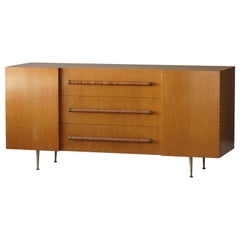 T.H. Robsjohn-Gibbings, Rare Cabinet in Walnut, Rattan and Brass, circa 1950