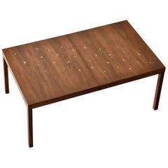 "T.H. Robsjohn-Gibbings, Rare ""Constellation"" Dining table, Walnut, Brass, 1950s"