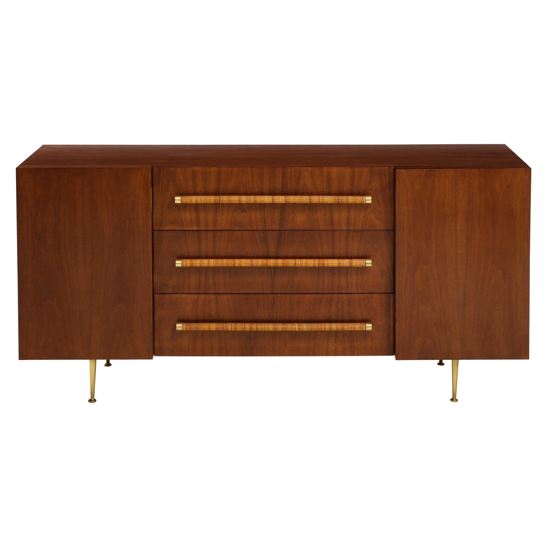 T.H. Robsjohn-Gibbings Rare Sideboard or Cabinet in Walnut, Rattan and Brass