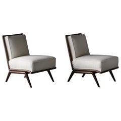 T.H. Robsjohn-Gibbings, Rare Slipper Chairs, Walnut, White Bouclé, Widdicomb
