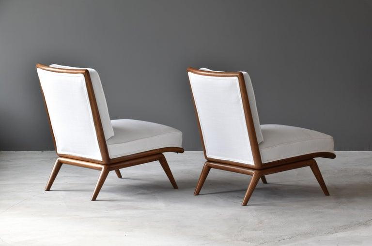 T H Robsjohn Gibbings Rare Slipper Chairs Walnut White