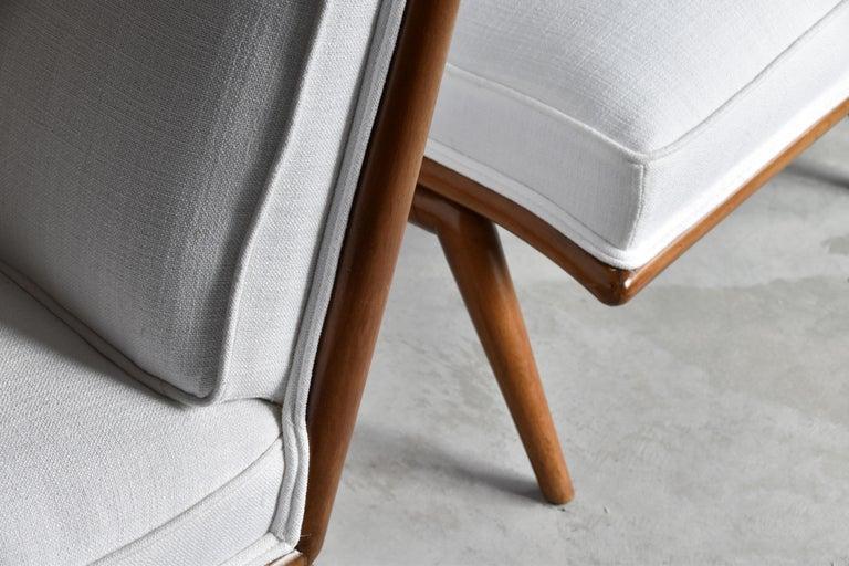 Mid-20th Century T.H. Robsjohn-Gibbings, Rare Slipper Chairs, Walnut, White Fabric, Widdicomb For Sale