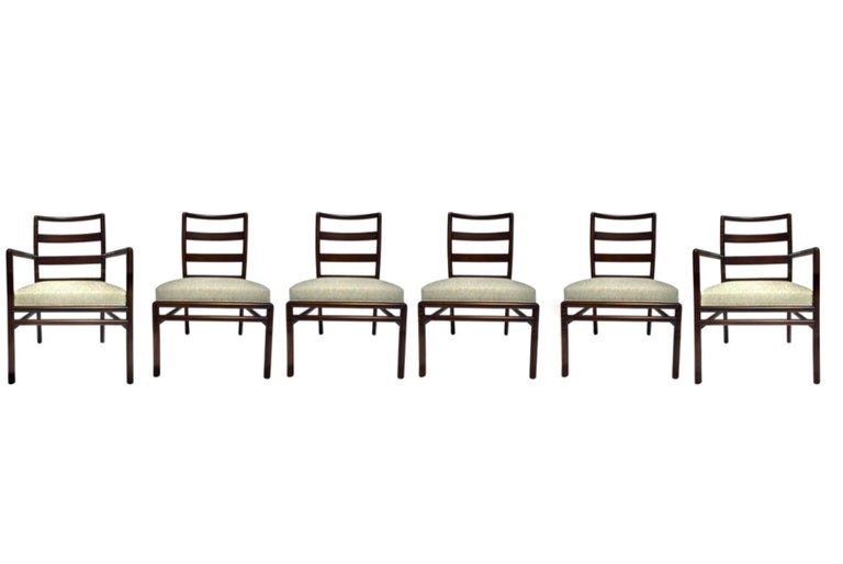 Set of six T.H. Robsjohn-Gibbings for Widdicomb dining chairs, circa 1950s. Two arm and 4 side ladder back chairs, all newly refinished in deep chocolate brown stain. Seats also newly upholstered-- all new foam cushions, in a Kravet Couture
