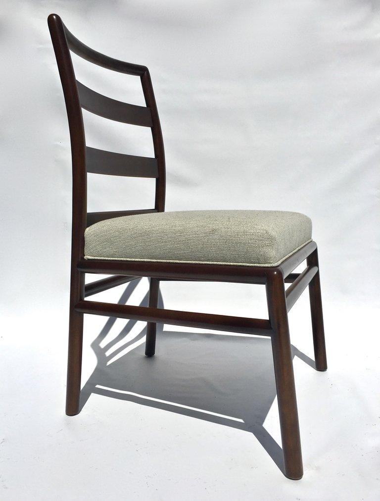 T.H. Robsjohn-Gibbings Set of Six Ladder Back Dining Chairs For Sale 1