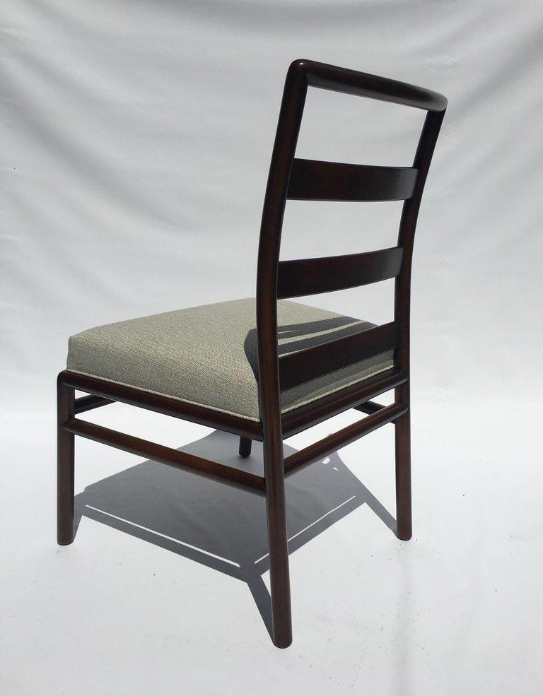 T.H. Robsjohn-Gibbings Set of Six Ladder Back Dining Chairs For Sale 3