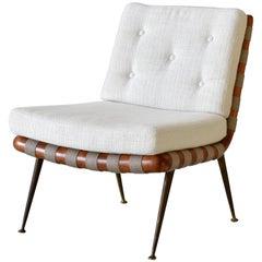 T.H. Robsjohn-Gibbings, Slipper or Lounge Chair, Walnut, Fabric, Brass, 1950s