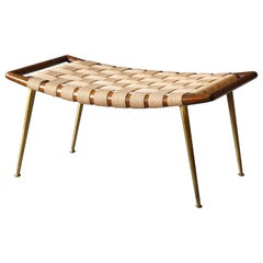 T.H. Robsjohn-Gibbings, Small Bench Walnut, Webbing, Brass, Widdicomb, 1950s