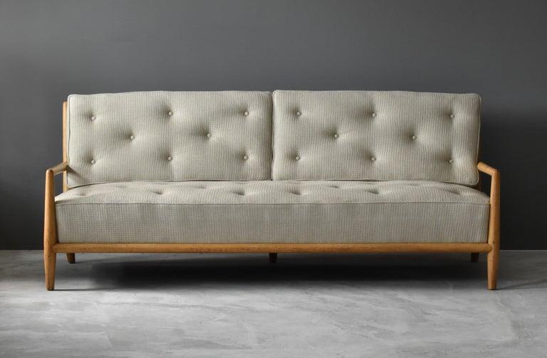 Mid-Century Modern T.H. Robsjohn-Gibbings, Sofa, Bleached Walnut, Beige Fabric, Widdicomb, 1955 For Sale