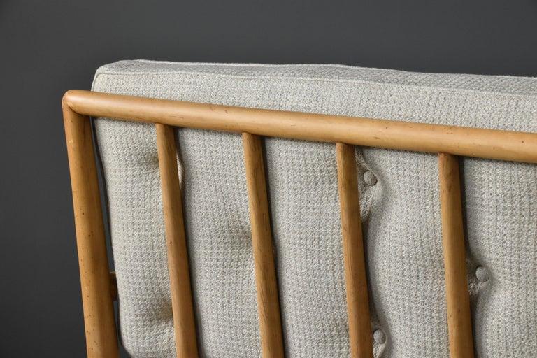 Mid-20th Century T.H. Robsjohn-Gibbings, Sofa, Bleached Walnut, Beige Fabric, Widdicomb, 1955 For Sale