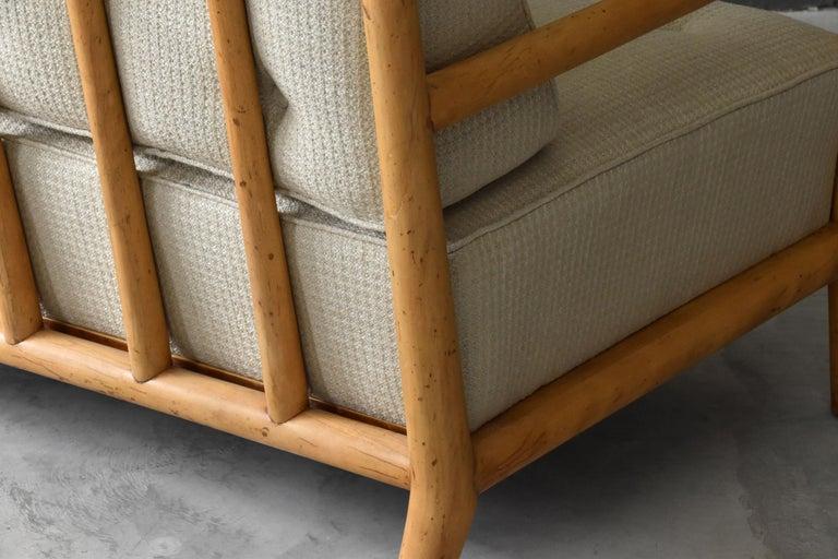 T.H. Robsjohn-Gibbings, Sofa, Bleached Walnut, Beige Fabric, Widdicomb, 1955 For Sale 1